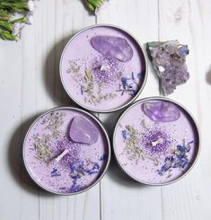 ASTRAL CANDLES - Serenity - Lavender Crystal Candle - Our Serenity Crystal Candle was designed for calming anxiety and obsessive-compulsive thought patte - Diy Candles Easy, Homemade Candles, Diy Candle Ideas, Jar Candles, Purple Candles, Lavender Candles, Candle Craft, Candle Maker, Candlemaking