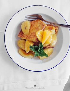 French toasts with caramelised bananas