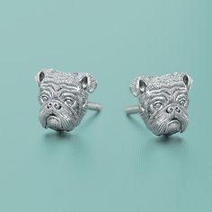 English Bulldog Jewelry Puppy Face Earring Studs