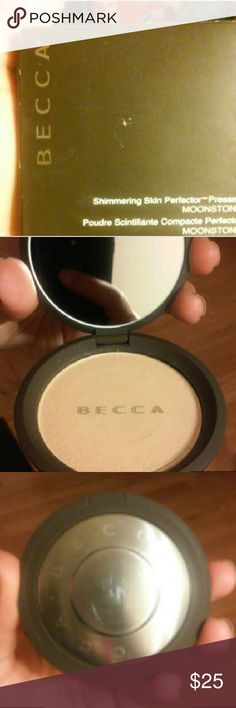 BECCA Highlighter MoonStone Brand New in Box. Never used. Plastic still over the pressed powder. I have receipt still so that u can see its real Authentic Becca. HALF PRICE ..IM ONLY GONNA GET HALF WHAT I PAID AT THIS PRICE! GREAT DEAL!!!Only flaw is paper box is a lil worn/Damaged but your probably gonna throw it away anyhow. FULLSIZE. Shimmering Skin Perfector Pressed. MOONSTONE. 8G/0.28OZ. A Creamy Luminizing Powder that veils skin in a soft pearlized glow with a lustrous velvet finish…