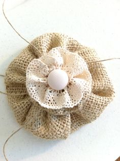 Burlap Flower, Home Decor, Hair Bow,  Fashion Pin, Accessories, Home Decor,  Shabby Chic, Cottage Style MADE TO ORDER. $12.50, via Etsy.