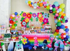 This Trolls Party Birthday Party is amazing!! Love the bright colors!! See more party ideas and share yours at CatchMyParty.com