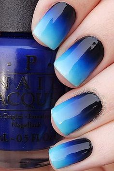 Knockout Ombre Nail Designs To Inspire Your Own Monochromatic Mani OPI royal blue to black ombre nails royal blue to black ombre nails Easy Nails, Simple Nails, Simple Nail Arts, Ombre Nail Designs, Nail Art Designs, Nails Design, Gorgeous Nails, Pretty Nails, Nice Nails