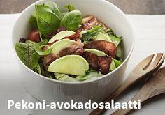 Pekoni-avokadosalaatti Resepti: Hookoo #kauppahalli24 #ruoka #resepti #pekoni #avokado Joko, Sprouts, Salads, Beef, Vegetables, Meat, Vegetable Recipes, Salad, Veggie Food