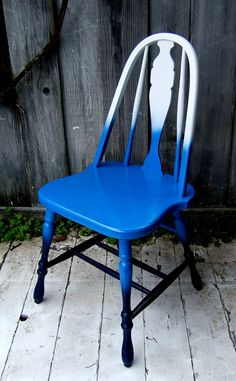 Ombre Accent Chair  White to Blue to Navy Blue by NineRed on Etsy, $75.00
