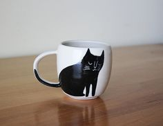 Black and White Double Espresso Cup with Happy Cat : handmade pottery from Montreal, Canada by Beardbangs