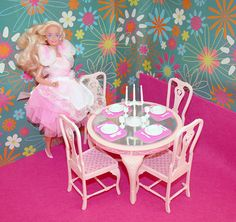 1990 Home Pretty Barbie in 1984 Fashion Dining Room Set; I had the dining set. Barbie liked it high-class.