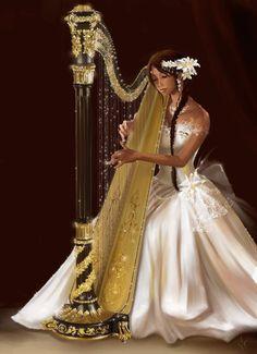 Lady playing harp (GIF)