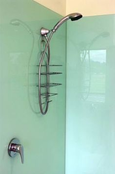 Back painted glass shower walls.  Easy clean, simple design, still beautiful! SGO Designer Glass of Halton / Hamilton