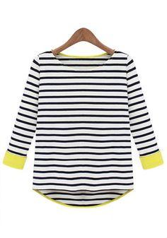 Black Striped Patchwork Round Neck Cotton T-Shirt