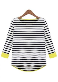 Black Striped Patchwork Round Neck Cotton T-Shirt