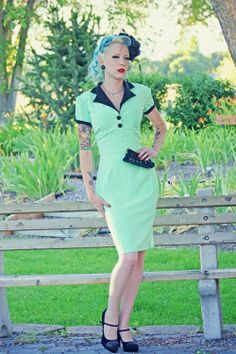 Pinup Girl Rockabilly Dress with Bow Vintage by NicoleKatherine, $115.00
