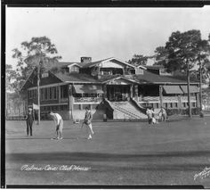 People playing golf in front of bungalow-style clubhouse of the Palma Ceia Golf and Country Club: Tampa, Fla. :: Burgert Brothers Photographic Collection