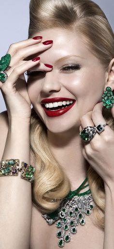 Bejeweled and embellished with jewels/karen cox..... Glitter Glamazon Dripping In Emeralds Diamonds -ShazB
