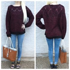•Only 1 Left• Warm burgundy knit sweater• •Buy 1 Get 1 50% off Sale ENTIRE Closet• Beautiful burgundy sweater with black contrast on bottom hem & wrists• detail design on front neckline & back• medium weight• Romeo & Juliet Couture Sweaters Crew & Scoop Necks
