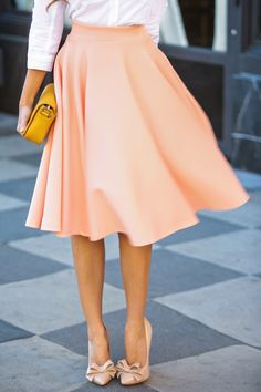 Solid Color A-Line Elastic Waist Skirt