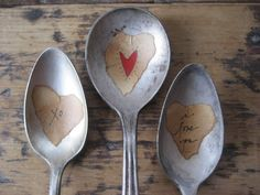 love the idea of vintage spoons and aged paper I love you's  -valentine-spoon-markers