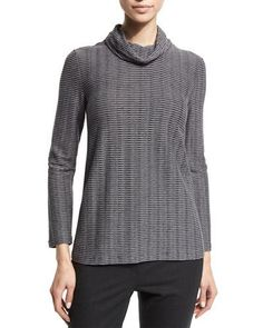Armani Collezioni Long-Sleeve Raised-Stripe Top, Storm Gray