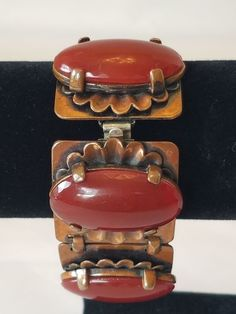 Rare Signed Rebajes Modernist Copper & Carnelian Cabochon Book Chain Bracelet #Rebajes
