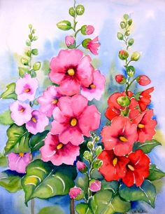 17 Best images about Floral Watercolor Watercolor Flowers, Watercolor Landscape, Watercolor Paintings, Original Paintings, Art Floral, Hollyhocks Flowers, Daily Painters, Leaf Art, Flower Pictures