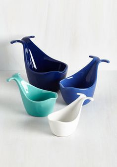 Super cute ceramic measuring cups in a whale design. Four useful sizes, four lovely colours. They'd look as good displayed on a shelf in your kitchen as they would in use.