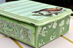 $26. Upcycled Mint Green Jewelry Box Spring by MakeUpandMudBoutique