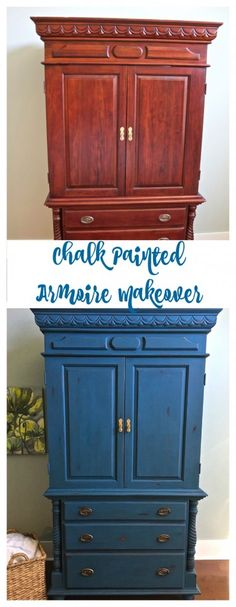 Chalk Painted Armoire Makeover – Aubusson Blue. Painted Armoire. DIY Armoire Makeover.