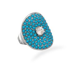 Rhodium Plated Synthetic Turquoise and CZ Ring