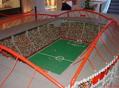 We beleive in creativity among all. We want our showcase to stand out in its creativity. Lego Football, Lego Soccer, Soccer Stadium, Soccer Gifts, Football Stadiums, Play Soccer, Lego Birthday Party, Soccer Match, Cool Lego Creations