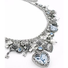 Broken China Heart Locket Necklace (£215) ❤ liked on Polyvore featuring jewelry, necklaces, blue heart necklace, heart necklace, blue necklace, heart locket necklace and vintage locket