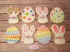 Please place your order ASAP to insure delivery in time for Easter. This set is perfect for Easter. So colorful and happy. You will get 6 bunnies and 6 eggs in assorted designs as shown. Each cookie will be individually wrapped and heat sealed for freshness. I can tie each bag