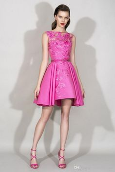 Zuhair Murad Short Prom Dresses 2016 Sexy Hot Pink Sheer Crew Neck Lace Applique with Sash Pleats Formal Evening Gowns