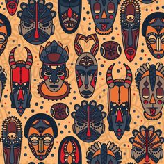 seamless pattern with tribal african masks, vector illustration Arte Tribal, Tribal Art, Art And Illustration, Art Illustrations, African Tribal Patterns, Tribal African, African Symbols, African Colors, Motif Vector
