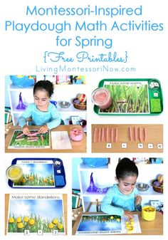 These Montessori-inspired spring playdough math activities use free printables for worm and dandelion numbers & counters, hands-on addition, & greater than. Montessori Homeschool, Montessori Activities, Therapy Activities, Preschool Activities, Homeschooling, Spring Activities, Preschool Lessons, Preschool Kindergarten, Free Printables