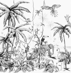 Black And White Jungle Animal Wallpaper Tier Wallpaper, Wallpaper Size, Animal Wallpaper, Wallpaper Jungle, Forest Wallpaper, Unique Wallpaper, Motif Jungle, Jungle Print, Jungle Drawing