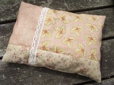 Lavender and hops herbal sleep pillow / dream pillow in vintage-style patchwork cotton with lace embellishment