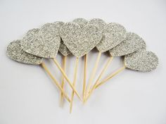 silver glitter cupcake toppers set bridal by ExLibrisJournals