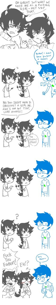 Karkat and Fem!Karkat + John. XD