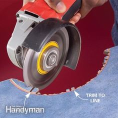 How to Cut Tile With a Grinder. Trim and grind. Read more: http://www.familyhandyman.com/tiling/tile-installation/how-to-cut-tile-with-a-grinder/view-all