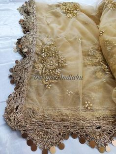 Designer Indian Traditional Golden Dupatta Chunni Stole Scarves embroiderd Net for Lehenga Suit Salwar Kameez for Women and Girls Party Wear Pakistani Fashion Party Wear, Pakistani Bridal Dresses, Golden Dupatta, Girls Party Wear, Lehenga Suit, Baby Boy Room Decor, Designer Wear, Designer Dresses, Antique Lace