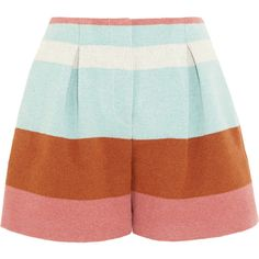See by Chloé Striped woven felt shorts (€130) ❤ liked on Polyvore featuring shorts, bottoms, pants, skirts, blue, see by chloe shorts, tailored shorts, stripe shorts, graphic shorts and see by chloé