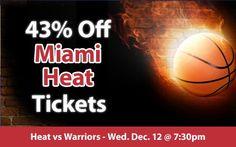 43% off Miami Heat Tickets vs. Golden State Warriors Wed. Dec. 12 @ 7:30pm
