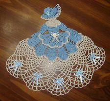 ~TAMS CRINOLINE LADY GIRL DOILY~ANTIQUE BLUE~CROCHETED~10 x 12 INCHES