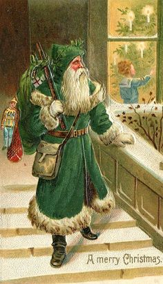 A Merry Christmas from a vintage St. Nicholas  (dressed in green)