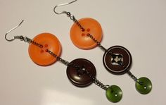 Autumn Earrings Dangling Buttons. Fashion for the by BodyBuzzz
