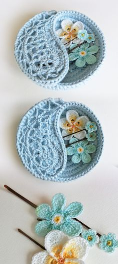 "Crochet pattern - 4"" yin yang jewelry dish. Very small, very cute… These dishes are crocheted on rope, which makes them firm yet delicate looking. Great as decorative every purpose storage bowl for tiny objects such as jewelry, keys, treasures…"