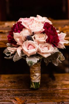 Pale pink and deep pink bouquet from a vintage woodland wedding.