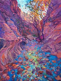 Colorful autumn landscape oil painting of Emerald Pools in Zion National Park by. - Colorful autumn landscape oil painting of Emerald Pools in Zion National Park by contemporary impre - Art Painting, Contemporary Impressionism, Fine Art, Impressionist Art, Oil Painting Landscape, Landscape Illustration, Art, Landscape Art, Aesthetic Art