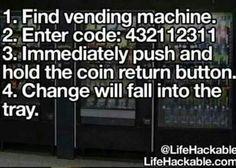 vending machine money code