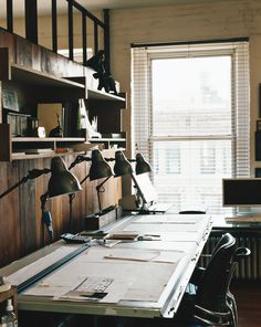 Roman & Williams home office drafting tables, lamps